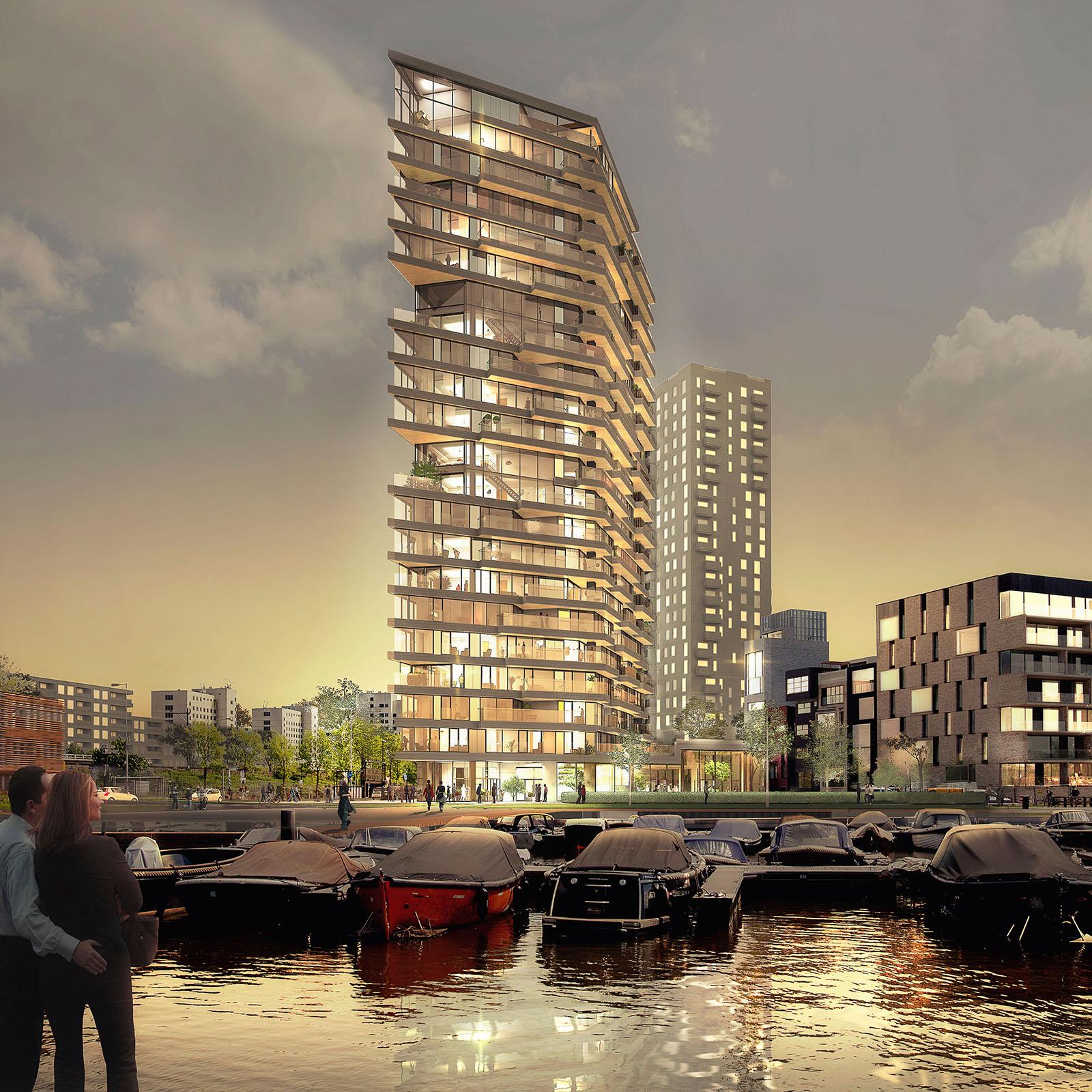 De Amsterdamse woontoren HAUT, een project van Team V architecten.